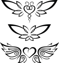 Tribal Tattoo Heart Set With W...