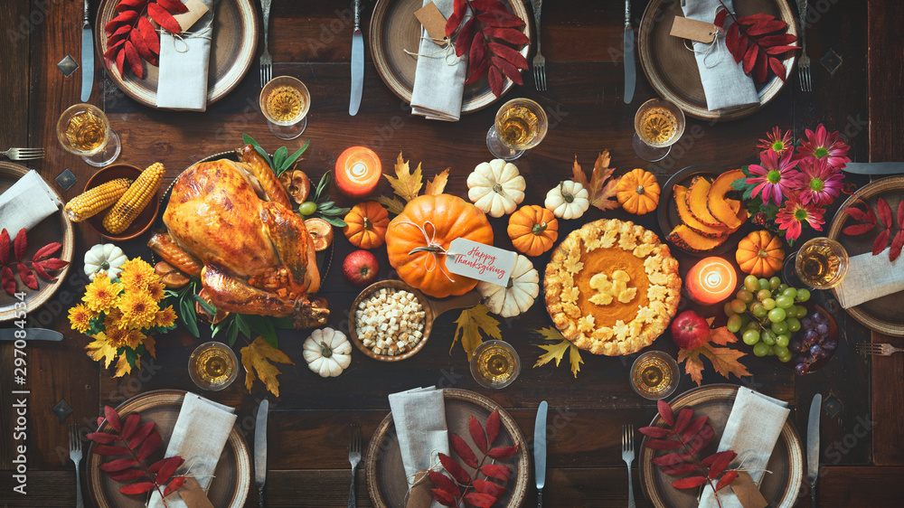Fototapety, obrazy: Thanksgiving celebration traditional dinner