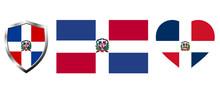 Set Of Dominican Republic Flag...