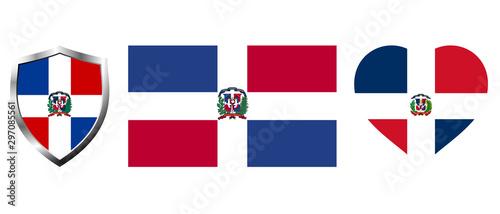 Obraz Set of Dominican Republic flag on isolated background vector illustration - fototapety do salonu