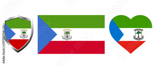 Cuadros en Lienzo Set of Equatorial Guinea flag on isolated background vector illustration