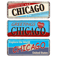 Vintage Tin Sign Collection With US. Chicago City. Retro Souvenirs Or Old Paper Postcard Templates On Rust Background
