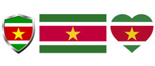Set Of Suriname Flag On Isolated Background Vector Illustration