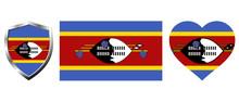 Set Of Swaziland Flag On Isola...