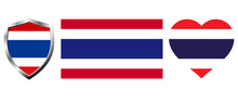 Set Of Thailand Flag On Isolat...