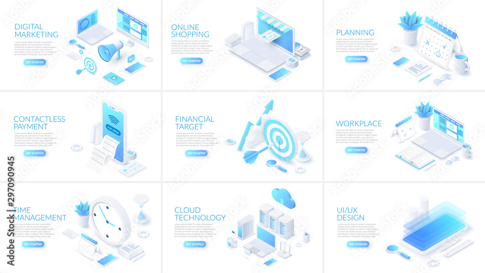 Fototapeta Isometric 3d illustrations set. Online shopping, planning, cloud technology and digital marketing with characters.