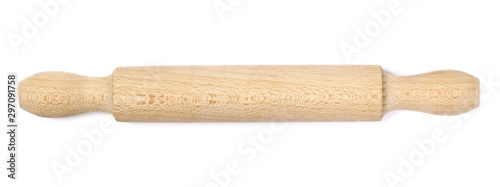 Fotografía Wooden rolling pin for dough isolated on white background, top view
