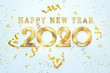 Leinwanddruck Bild - Golden New Year 2020 sign on a light background with sweets and gift bow. 3D Illustration 3D rendering, Happy New Year, Merry Christmas.