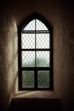 Ancient Castle Window. Vintage Gothic Style Photo.