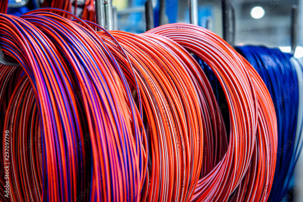 Fototapeta Colored telecommunications cables and wires