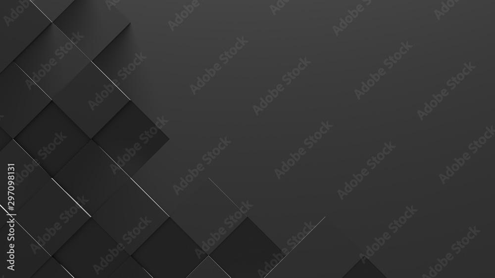 Fototapeta Black Tiled Background With Copy Space (3D Illustration)