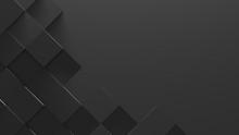 Black Tiled Background With Copy Space (3D Illustration)