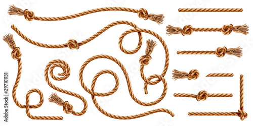 Fotomural Set of isolated knotted ropes with tassels or realistic cords with brush and knot