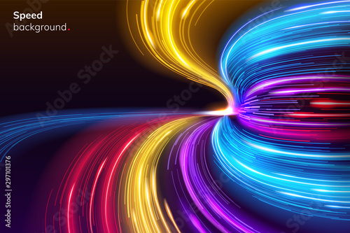 Fotografía Fast speed lines curve for racing background