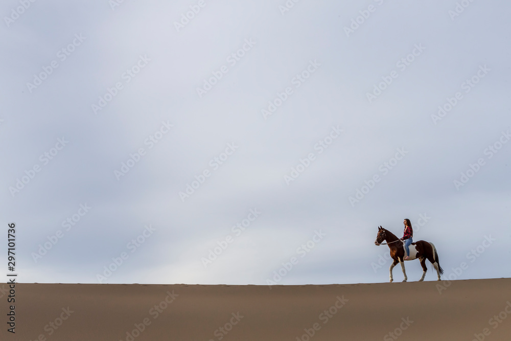 Fototapety, obrazy: A Lovely Brunette Model Walks Her Horse Through The Desert On A Summers Day