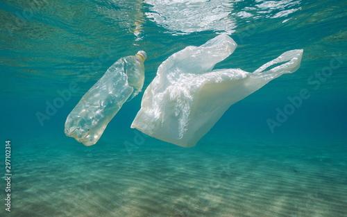 Fototapeta  Underwater pollution, plastic bag and bottle in the sea, Mediterranean, France