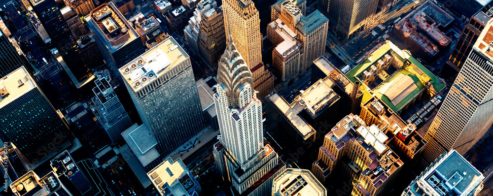 Fototapeta Aerial view of the skyscrapers of Midtown Manhattan New York City