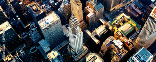 Foto Aerial view of the skyscrapers of Midtown Manhattan New York City