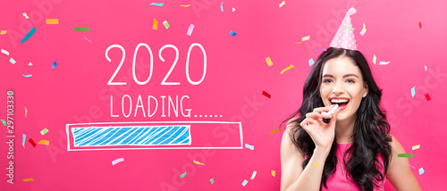 Loading new year 2020 with young woman with party theme on a pink background Tablou Canvas