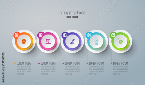 Infographics design paper art style and business icons with 5 options. Use in corporate report, marketing, annual report. Network management data screen with charts, diagrams.