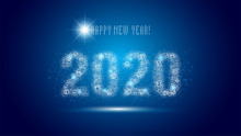 Happy New Year 2020, Blockchain Technology Business Concept. For Greetings Card, Flyers, Invitation, Posters, Brochure, Banners, Calendar.