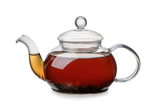 Side View Of Glass Teapot Full...