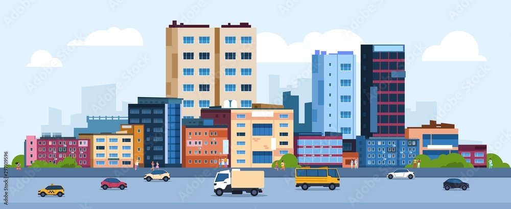 Fototapeta Urban landscape. Modern cartoon cityscape with buildings cars and street, flat urban downtown background. Vector illustration city scene with color residential panoramic view on downtown