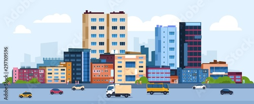 Fototapeta Urban landscape. Modern cartoon cityscape with buildings cars and street, flat urban downtown background. Vector illustration city scene with color residential panoramic view on downtown obraz