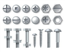 Metal Bolt And Screw. Realisti...