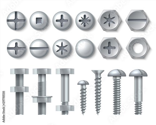 Obraz Metal bolt and screw. Realistic steel nails, rivets and stainless self-tapping screw heads with nuts and washers. Vector illustration repair set isolate fasteners for equipment tool and furniture - fototapety do salonu