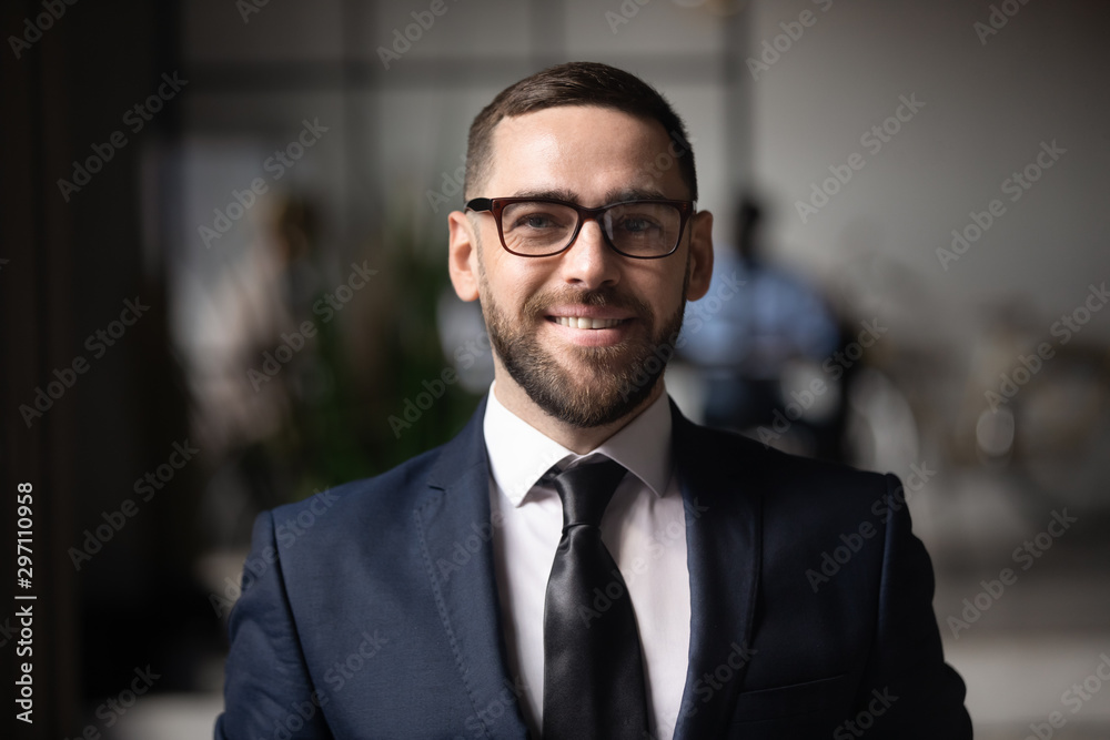 Fototapeta Smiling businessman executive looking at camera in office, business portrait
