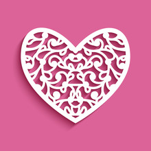 Cutout Paper Heart With Lace Ornament On Pink Background, Stencil Template For Laser Cutting, Elegant Decoration For Wedding Invitation Or Valentines Day Greeting Card