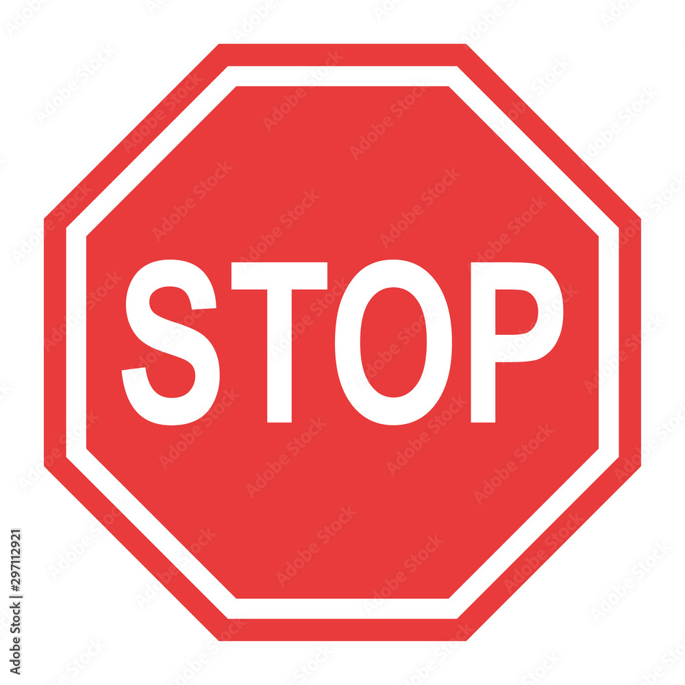 Fototapety, obrazy: Stop sign, icon STOP vector. Red color singe symbol illustration