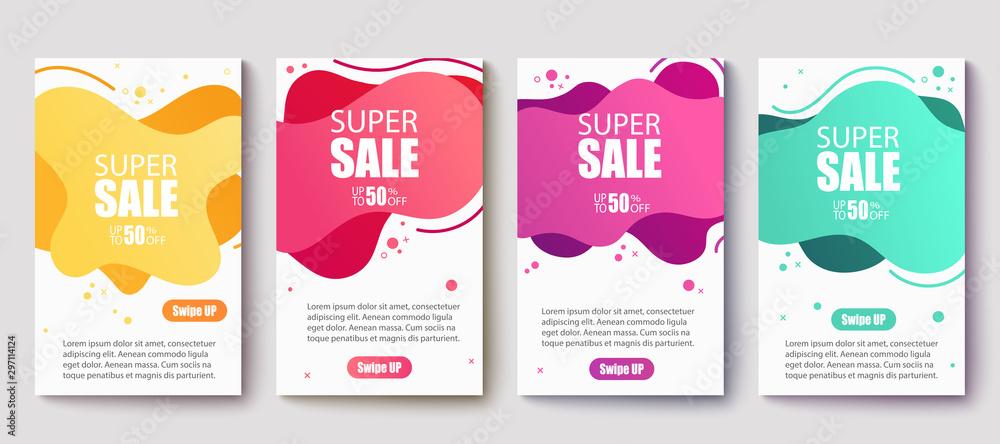 Fototapety, obrazy: Dynamic modern fluid mobile for sale banners. Sale banner template design, Super Sale set.Vector illustration