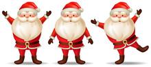 Set Cartoon Santa Claus. Isolated 3d Vector Illustration On White Background.
