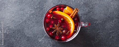 Fotografie, Obraz Mulled red wine with spices