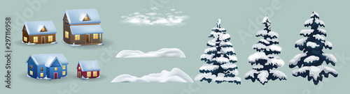 Set of cute Christmas landscape, town and village. Houses, snow and trees. Isolated winter vector objects, flat design. Set of winter