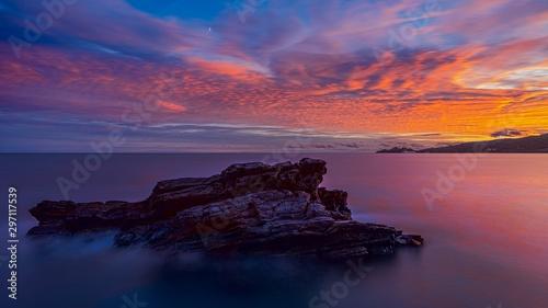 Montage in der Fensternische Hochrote Long exposure of Portofino at the sunset