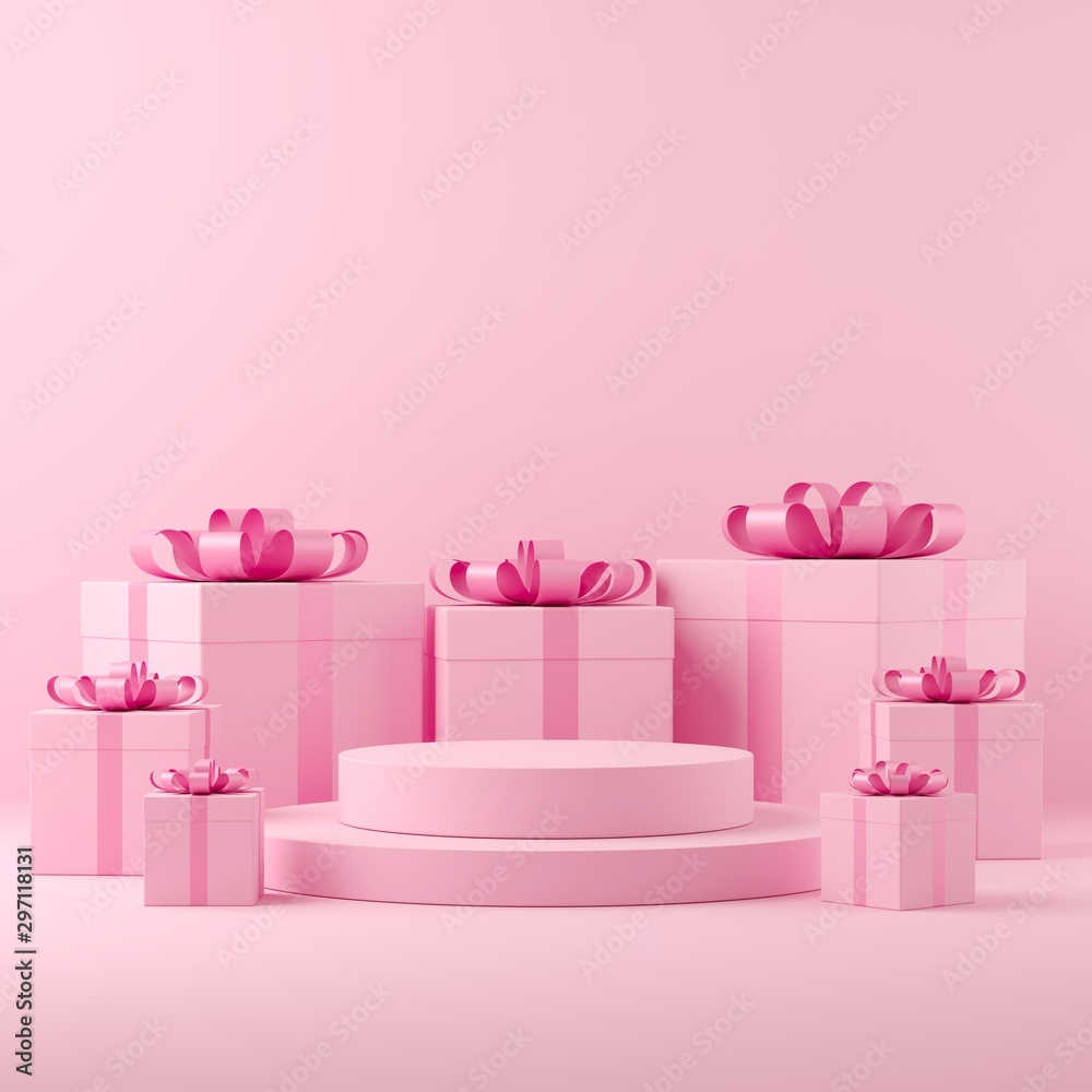 Fototapety, obrazy: Abstract mock up scene pastel color. geometry shape podium background for celebrate. 3d rendering