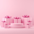 Leinwandbild Motiv Abstract mock up scene pastel color. geometry shape podium background for celebrate. 3d rendering