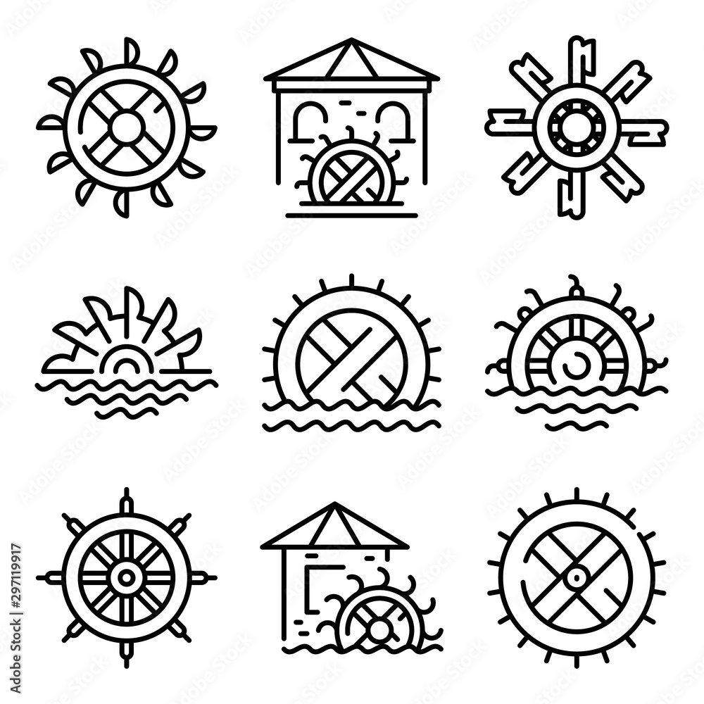 Fotografia Water mill icons set