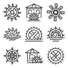 Water Mill Icons Set. Outline ...