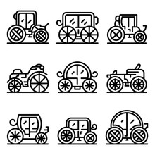 Brougham Icons Set. Outline Se...