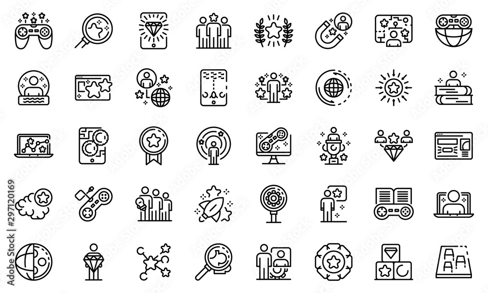 Fototapety, obrazy: Gamification icons set. Outline set of gamification vector icons for web design isolated on white background