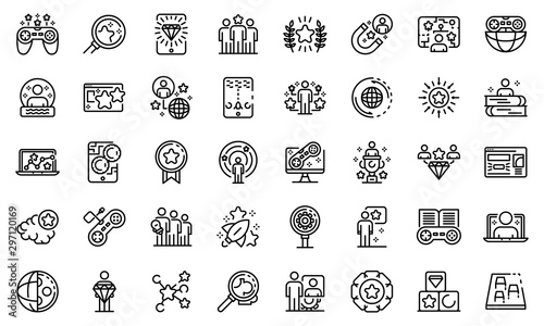 Fotomural  Gamification icons set