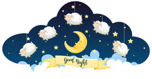 Good Night Theme With Sheeps And Stars