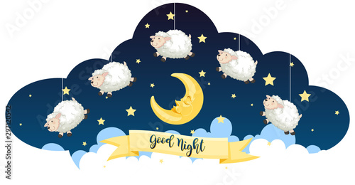 Poster de jardin Jeunes enfants Good night theme with sheeps and stars