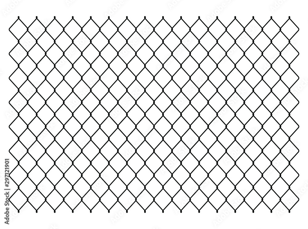 Fototapeta Segment of a metal mesh fence. Chain link fence texture. Vector illustration image. Isolated on white background.