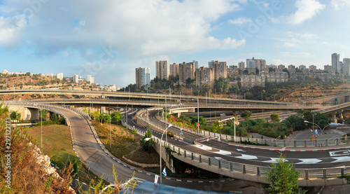 Fotografie, Tablou  beautiful view and bridges in Haifa on Judgment Day