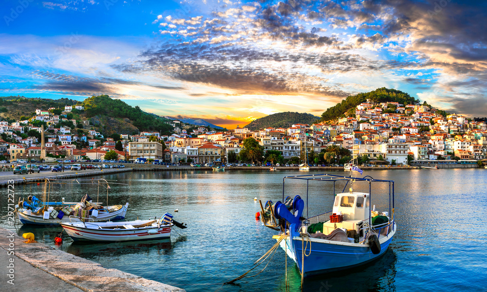 Fototapety, obrazy: Greece landmarks - beautiful island Lesvos (Lesbos). Scenic Plomari town over sunset